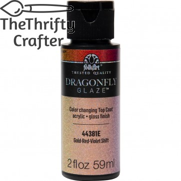 FolkArt Multi-Surface Paint Dragonfly Glaze (2 oz), 44381, Gold-Red-Violet