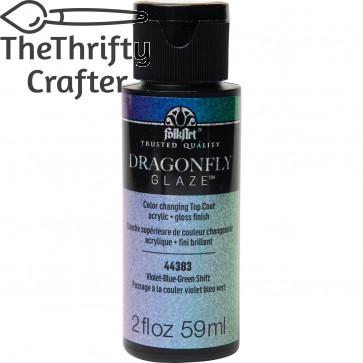 FolkArt Multi-Surface Paint Dragonfly Glaze (2 oz), 44383, Violet-Blue-Green