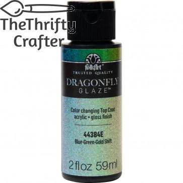 FolkArt Multi-Surface Paint Dragonfly Glaze (2 oz), 44384, Blue-Green-Gold