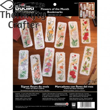 Bucilla Counted Cross Stitch Bookmark Kit, 2.5 by 8-Inch, 45571 Flowers of The Month (Set of 12)