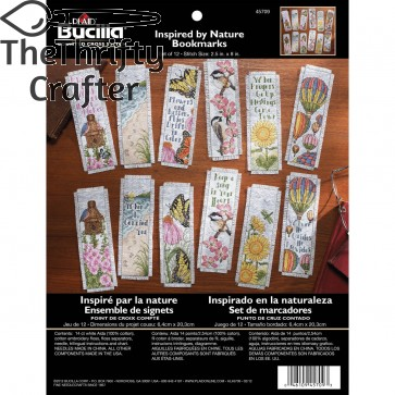 Bucilla Counted Cross Stitch Bookmark Kit, 2.5 by 8-Inch, 45709 Inspired By Nature (Set of 12)