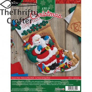 "BUCILLA 86702 Felt Applique Stocking Kit Santa's Visit, Size 18"""