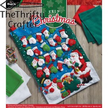 "BUCILLA 86735 Felt Applique Advent Calendar Mittens & Stockings, Size 14.5"" X 23.25"""