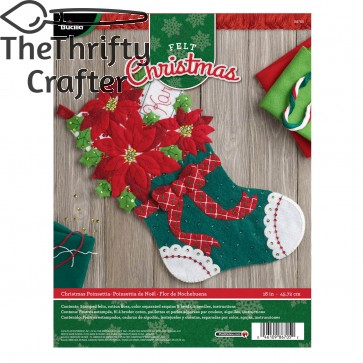 Bucilla Felt Applique Stocking Kit (18-Inch), 86705 Christmas Poinsettia