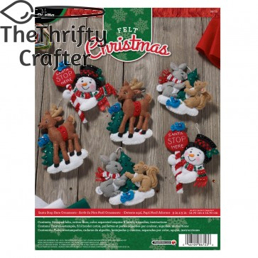BUCILLA 86723 Felt Applique Ornaments Kit Santa Stop Here, Set of 6