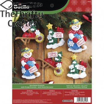 Bucilla Felt Applique Ornament Kit, 86558 Snow Garden (Set of 6)