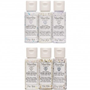 Martha Stewart Crafts MSCPSIGLR6A Family Friendly Glitter Paint Set, 6 Piece