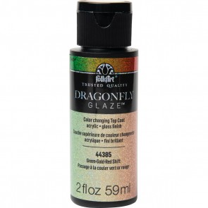 FolkArt Multi-Surface Paint Dragonfly Glaze (2 oz), 44385, Green-Gold-Red