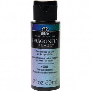 FolkArt Multi-Surface Paint Dragonfly Glaze (2 oz), 44383, Violet-Blue-Green