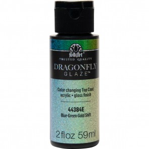 FolkArt Multi-Surface Paint Dragonfly Glaze (2 oz), 44384, Blue-Green-Gold