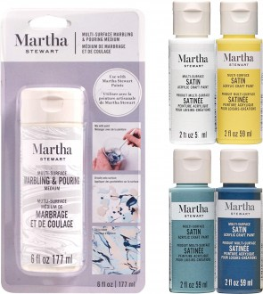 Martha Stewart Crafts MSORIGPM5A Marbling Medium & Paint Paint Set, 5 Piece