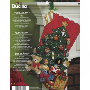 Bucilla 18-Inch Christmas Stocking Felt Applique Kit, 86303 Under The Tree