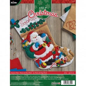 BUCILLA 86702 Felt Applique Stocking Kit Santa's Visit, Size 18""
