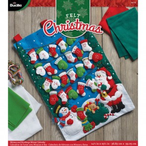"BUCILLA 86735 Felt Applique Advent Calendar Mittens & Stockings, Size 14.5"" X 23.25"""