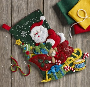 BUCILLA 86866 Santa's Sleigh Stocking Kit, Multicolor