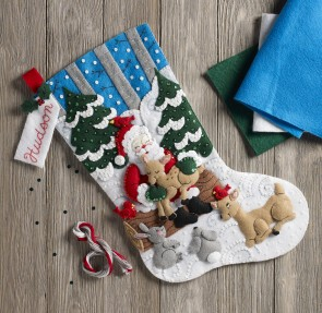BUCILLA 86865 Santa's Forest Family Kit Stocking, Multi