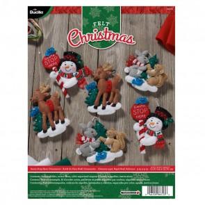 BUCILLA 86723 Felt Applique Ornaments Kit Santa Stop Here, Set of 6