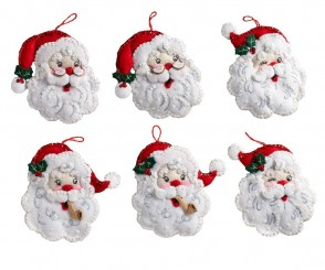 BUCILLA 86908 Santa Felt Ornament Kit, Multicolor