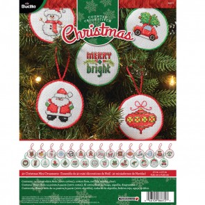 Bucilla Counted Cross Stitch Mini Ornament Kit, 86672 Christmas (Set of 30)