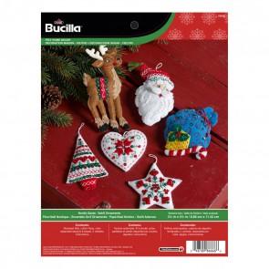 Bucilla Felt Applique Ornament Kit, 3.5 by 4.5-Inch, 86666 Nordic Santa (Set of 6)