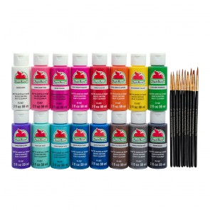 Apple Barrel PROMOABIB Acrylic Paint and Brush Set, 2-16 oz, Multicolor